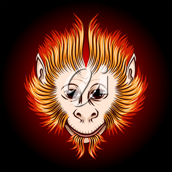 Cute Fire monkey face. Eastern Symbol of next year.