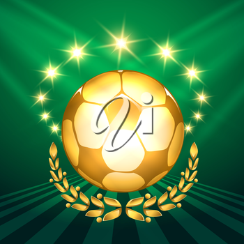 A golden soccer ball with laurel wreath against shining stars and green background. Symbol of victory in soccer competitions.