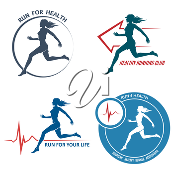 Healthy Run Emblem and Logo Set. Running young woman. Healthy heartbeat sign. Sport and activity. Only free font used. Isolated on white background.