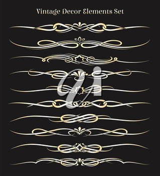 Vintage Decor Elements set. Golden headers and dividers isolated on black.