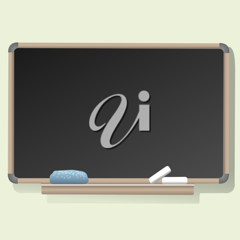 A vector illustration of blank blackboard with a sponge and a pieces of chalk