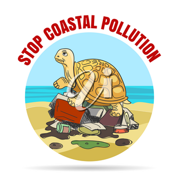 Stop coastial pollution emblem in cartoon style. Sad turtle on a pile of garbage. Vector illustration.