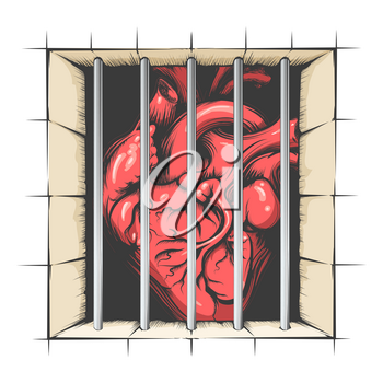Heart in jail drawn in tattoo style. Vector illustration