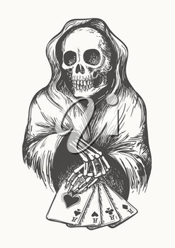The skeleton in the hood with playing cards. Death symbol with Four Aces combination. Vector illustration in engraving style.