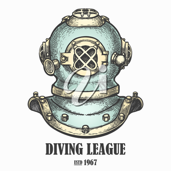 Old diving helmet drawn in retro style. Vector illustration.