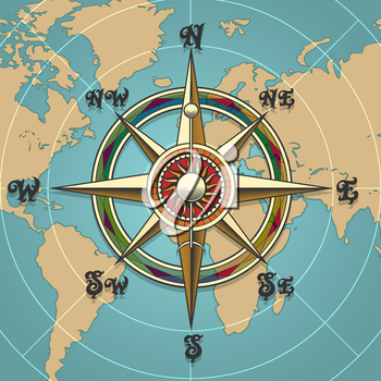 Classic vintage wind compass rose on map background drawn in retro style. Vector illustration.