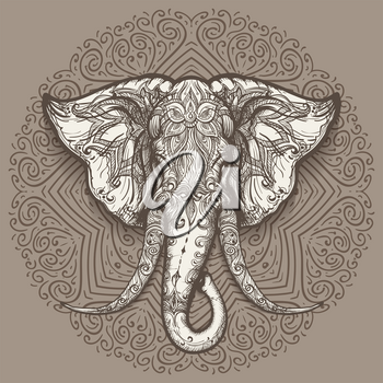 Stylized elephant head art on mandala background. Vector illustration.