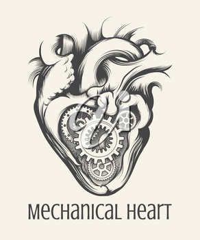 Gear mechanism inside human heart drawn in steam punk style on a white background. Vector illustration.