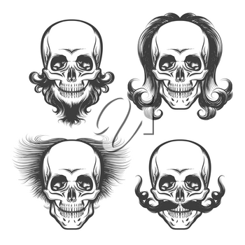 Set of Skulls with various haircut, beard and mustache. Vector illustration drawn in tattoo style