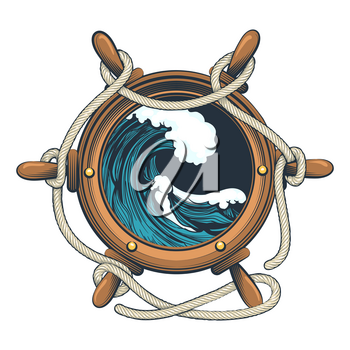 Nautical Steering Wheel with ropes and Ocean wave inside drawn in tattoo style. Vector illustration