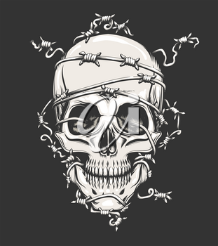 Human Skull in barbed wire drawn in tattoo style. Vector illustration.