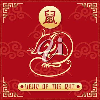 Chinese new year card. Gold border line rat zodiac and hieroglyph of rat on red background. Vector illustration.