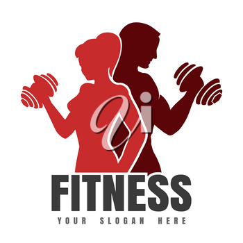 Silhouettes of Athletic Man and Woman with dumbbels. Fitness club Logo or Emblem. Vector illustration.