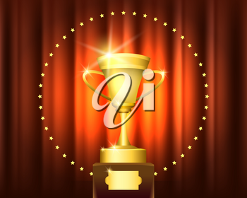 Golden Trophy Cup Award in circle of stars on red curtain. Winner ceremony or award concept Emblem. Vector illustration.