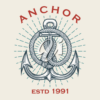 Retro Nautical emblem of anchor in ropes and sun beams. Vector illustration.
