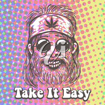 Old Hippiie in bandana with canabis leaf sign and wording Take it Easy. Hippie Psychedelic generation Retro Poster. Vector illustration.