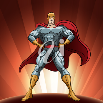 Superhero figure standing proud. Illlustration in comic style.