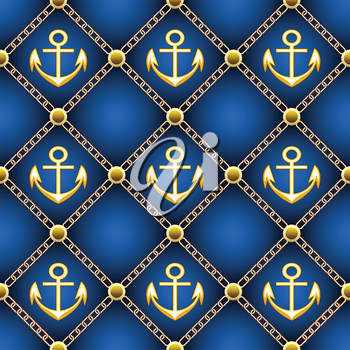 Seamless upholstery pattern with golden anchors and chains drawn with using gradients