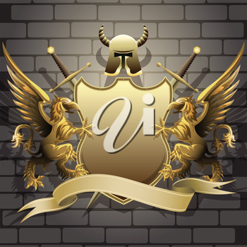 The golden shield with two swords, helmet and banner holds by gryphons against castle wall background drawn in classic style