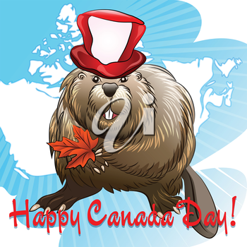 Illustration of smiling beaver in holiday hat with maple lef in a hands against contours of Canada drawn in cartoon style