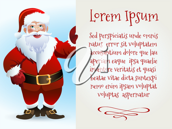 Santa Claus Character holds board with Sampe text in Blank Space. Vector Illustration