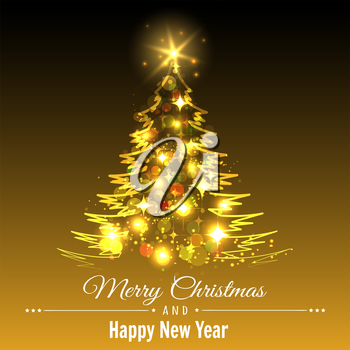 Festive Background with Christmas Tree in holiday lighting. Merry Christmas and Happy new Year greeting card tempate. Vector illustration.