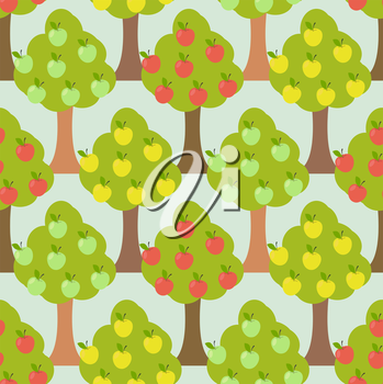 Apple tree seamless pattern. Orchard background