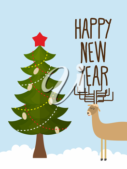 Christmas tree and deer. Holiday card for Christmas and new year. happy new year. Vector illustration