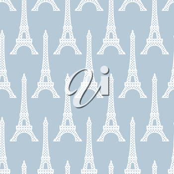Eiffel Tower seamless pattern. French vector background. Vintage fabric texture in pastel colors