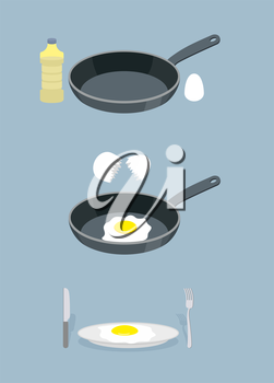 Manual cooking scrambled eggs. Fry  omelette. Frying pan and a bottle of oil. Infographics ingredients for cooking breakfast. Stages of cooking in kitchen or in  restaurant. Cooking instruction Vector