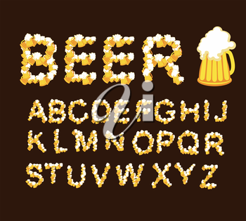 Font beer. Draught beer. Letters from beer mugs