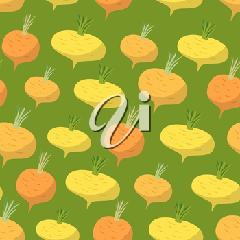 Yellow turnip pattern. Seamless background with turnips. Vector texture