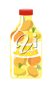 Turnip juice. Juice from fresh vegetables. Turnip in a transparent bottle. Vitamin drink for healthy eating. Vector illustration.