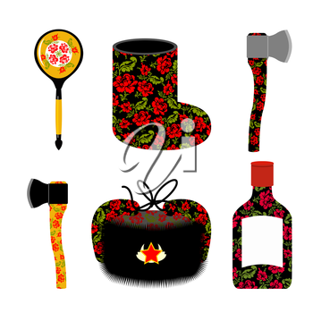 Traditional set of icons for Russia: boots, axe and Ushanka. Wooden spoon and vodka. Russian national elements of culture of country.