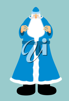 Russian Santa Claus in blue clothes. New year old man with beard and mustache. Christmas character
