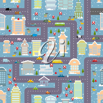 Winter city seamless pattern. Christmas in city. Map real estate and transport. Skyscrapers and people. Santa Claus brings presents. City life in new year. Elf and Christmas tree. Reindeer and snowman