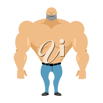 Strong man with a naked torso in blue jeans. Athletic body with huge muscles. Bodybuilder on a white background. Vector illustration Man fitness model.