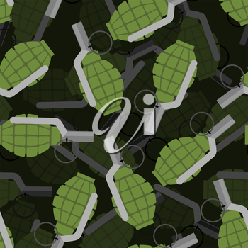 Hand grenade 3D seamless pattern. Bomb, Explosive background. Many of explosive ordnance. Ornament military projectile. Texture War Accessory.
