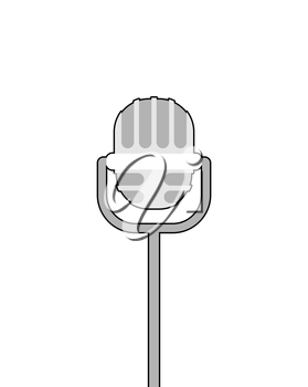 Retro microphone on white background. Accessory for lead performances.