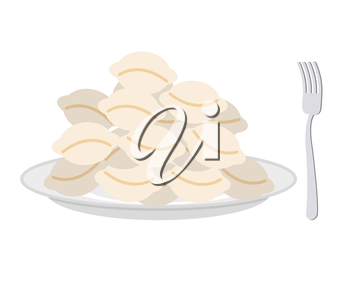 Dumplings in a plate and fork on a white background. Vector illustration