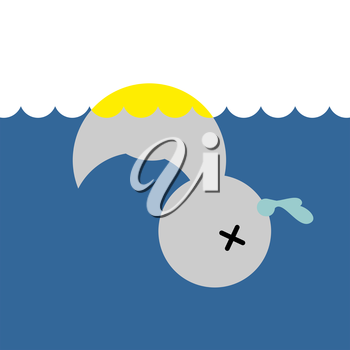 Dead rubber duck. Childrens toy in water. Vector illustration