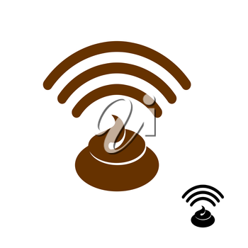 Wi-fi shit. Wireless transmission of clover. Remote access to stinking waste. Internet shit. Wi fi Icon stink flat icon. Smelly Waves go feces. Wifi excrement net