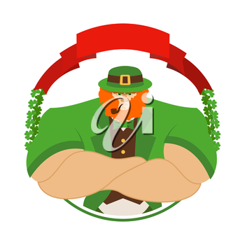 Happy Patrick day. Angry leprechaun in Green Hat. Serious big leprechaun with smoking pipe. Logo for holiday in Ireland 17 March
