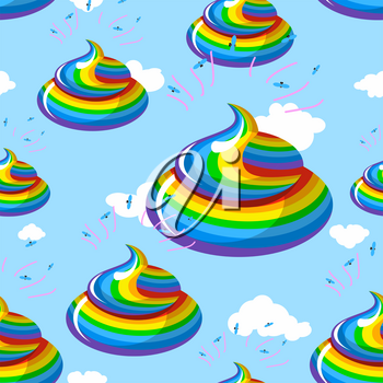 Unicorn shit seamless pattern. Turd color rainbow background. Multicolored cal fantastic animal ornament. Mythical creature manure, poop and clouds