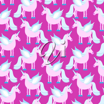 Pink Unicorn seamless pattern. Fantastic animal on purple background. Fabulous Beast texture. Mythical creature with horn ornament