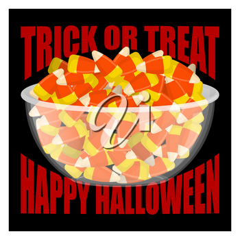 Trick or treat. Happy Halloween. bowl and candy corn. Sweets on plate. Traditional treat for terrible holiday.
