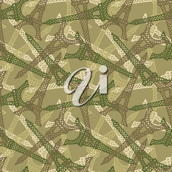 French military seamless pattern. Texture for soldiers of Eiffel Tower. Army Protective background attraction of France. Soldier protective khaki ornament