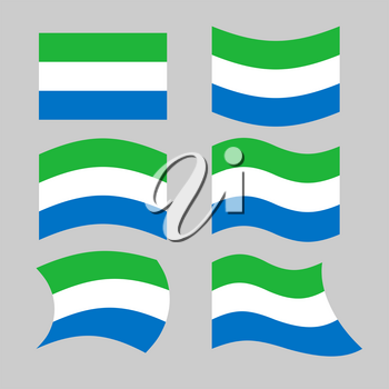 Sierra Leone flag. Set flags Siera Leones Republic in various forms. Developing State flag in West Africa