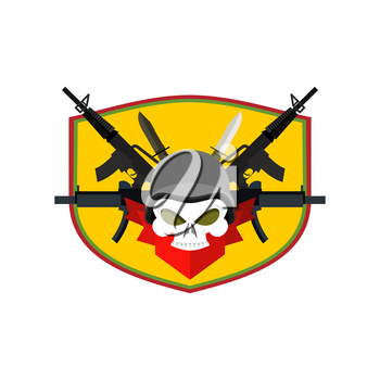 Army logo Skull. Soldiers badge. Military emblem. Wings and weapons. Eagle and guns. Awesome sign for troops. blazon commando