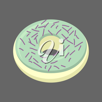 Pistachio donut isolated. Baking Sweets on white background. Delicious dessert
